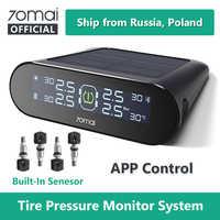 70mai tpms sistema de monitor pressão dos pneus inglês app energia solar usb tmps 70 mai carro sensores pressão dos pneus sistema alarme