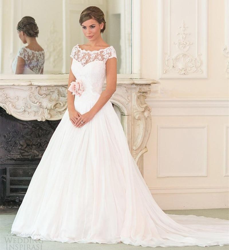 2018 Vestido De Noiva Simple Elegant Short Sleeves Scoop Neck Court Train V Back Lace Bridal Gown Mother Of The Bride Dresses