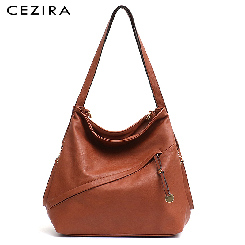 CEZIR Large Women Fashion Tote Shoulder Bag Pu Hobo Femal High Quality Vegan Leather Handbag Zipper Liner Function Crossbody Bag