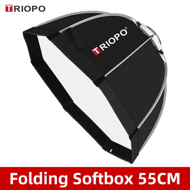 Triopo K55 55cm Photo Bowens Mount Portable Octagon Umbrella Outdoor SoftBox with Carrying Bag for Studio Flash Softbox
