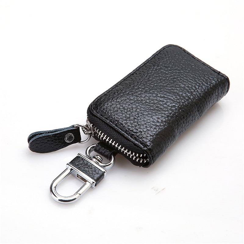 Leather Keychain Men Women Key Holder Organizer Pouch Cow Split Car Key Bag Wallet Housekeeper Key Case Mini Card Bag