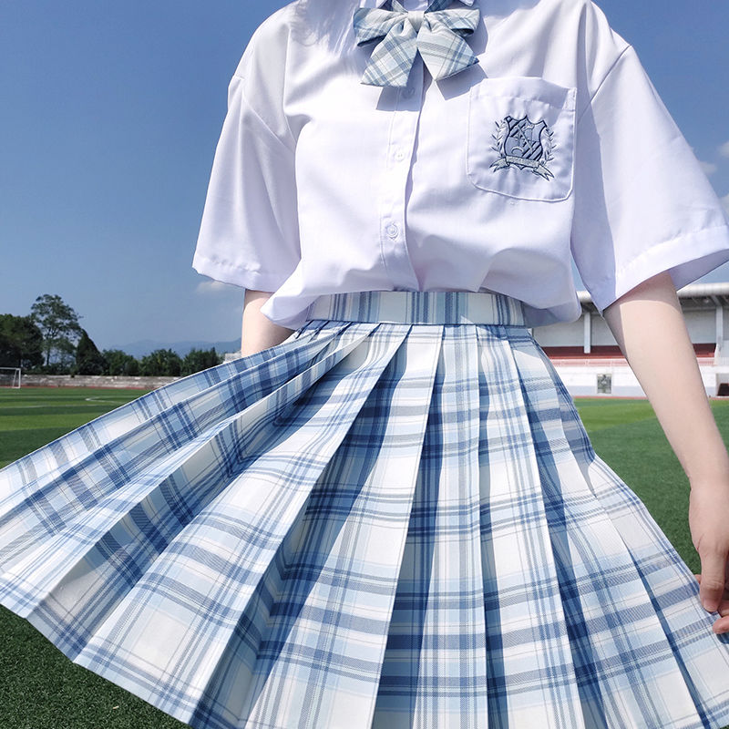 Jk saias das mulheres 2020 verão saias de cintura alta estilo coreano saias plissadas para meninas bonito doce senhoras xadrez mini saia nova