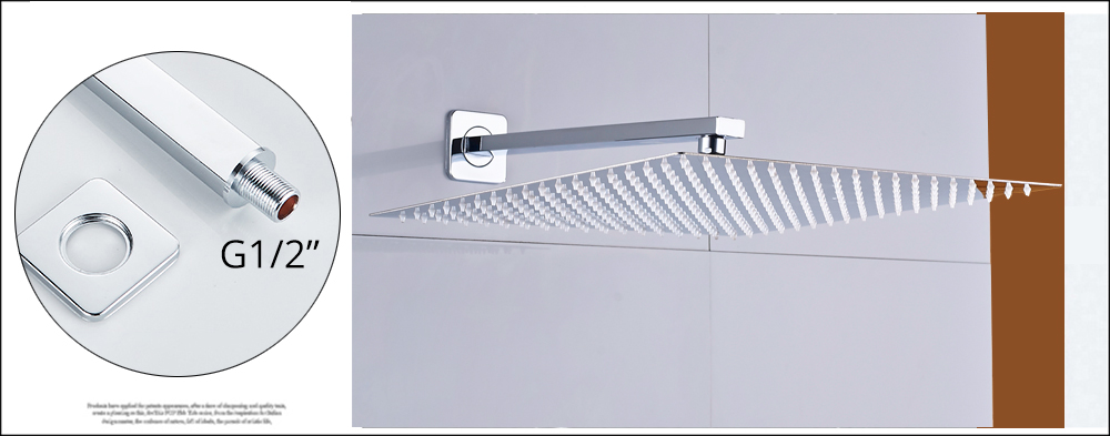 He8d078a228e747c98af64e1ed6301ed6v Rozin Wall Mount Rainfall Shower Faucet Set Chrome Concealed Bathroom Faucets System 16'' Head with Swivel Tub Spout Mixer Tap