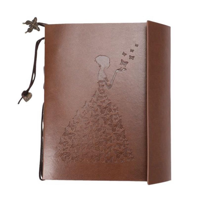Vintage deri DIY resim albümü cep Polaroid fotoğraf etiket tutucu bebek kitabı anılar yaratıcı doğum günü partisi kız hediye title=