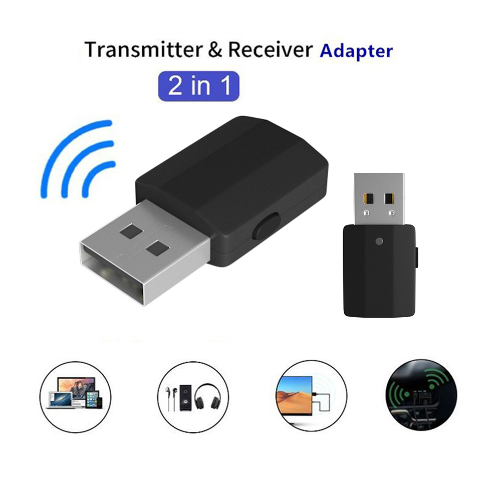 <font><b>USB</b></font> <font><b>Bluetooth</b></font> <font><b>5.0</b></font> Transmitter Receiver 2 in 1 Portable 3.5mm AUX Wireless Adapter for Car TV PC <font><b>Bluetooth</b></font> Receiver image