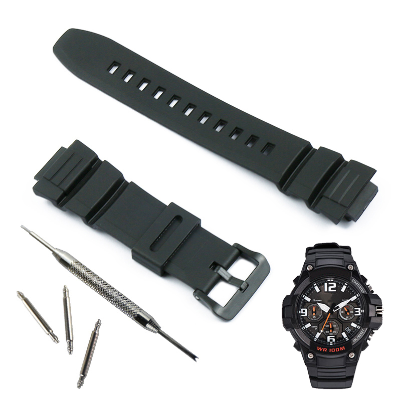 Accessories Pin Buckle For Casio MCW-100H 110H W-S220 HDD-S100 Waterproof Resin Watch Strap For Men And Women Watch Band