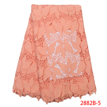 African Peach Cord Lace Fabric With Stones Latest African Laces 2019 High Quality Milk Silk Guipure Lace Nigerian Lace Fabrics