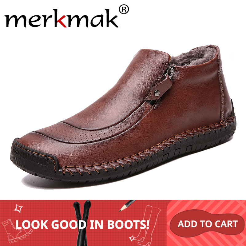 Merkmak 2019 New Winter Men Boots Fashion Warm Casual Ankle Booties Comfortable Zip Male Shoes Big Size 39-48 Men Shoes