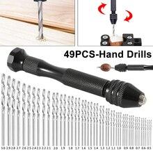 цена на Mini Micro Aluminum Hand Drill With Keyless Chuck +49pcs High Speed Steel Twist Drill Bit Sets For Rotary Tools Wood Drilling