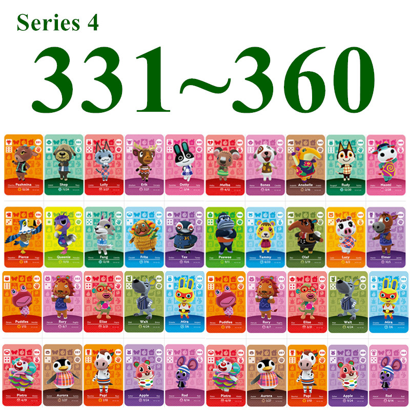 Series 4 (331 to 360) animal crossing <font><b>cards</b></font> For NS Games Animal Crossing <font><b>Amiibo</b></font> <font><b>Card</b></font> new horizons work for <font><b>Switch</b></font> <font><b>NFC</b></font> image