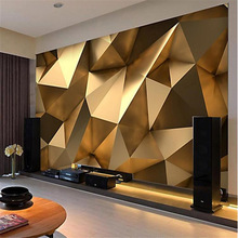 Wallpaper Gold Geometric Bedroom Living-Room Papel-De-Parede Papier Custom Minimalist