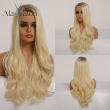 ALAN EATON Long Body Wave Ombre Brown Blonde Honey Lace Front Synthetic Hair Wigs