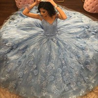 vestido de 15 ano Ball Gown Quinceanera Dresses Sweetheart Beaded Flower Applique Pageant Gowns Long Sweet 16 Dress