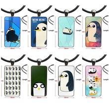 Gunter Penguin Adventure Time Fashion Glass Cabochon Pendant Necklace With Women Steel Plated Statement Jewelry For Unisex Gift(China)