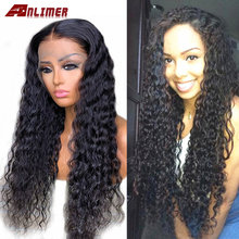 Anlimer Deep Wave Wig 13x4 Lace Front Human Hair Wig 150 Density Remy Wet and Wavy Wig Glueless Wigs for Black Women(China)