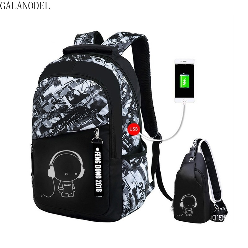 Shool Bags For Boys Chain USB Backpack Casual Anti Theft Backpacks With Waterproof Nylon Laptop Mochila Escolar Bags  .