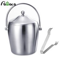 Stainless Steel Ice Bucket Container Double Walled 1.2/2L Ice Bucket with Tongs & Lid Ice Container Keep Cooler Bar Accessories