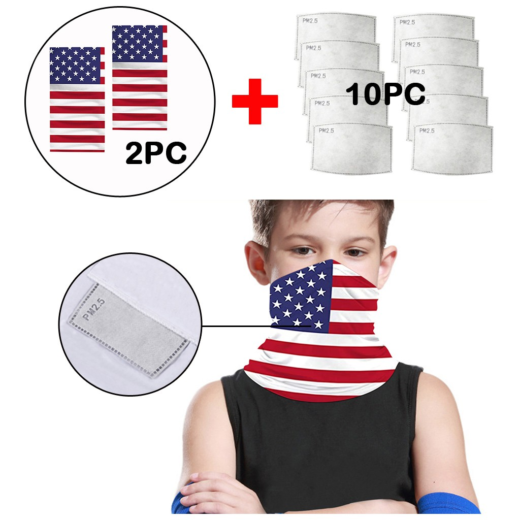 New Fashion Children Cotton Scarfs Keep Warm Sun Protection Windproof US Flag Printed Scarfs Neck Warmer Facemask Bandanas 5