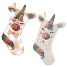 Merry Christmas Large Unicorn Stocking Socks Favors Gift Bag