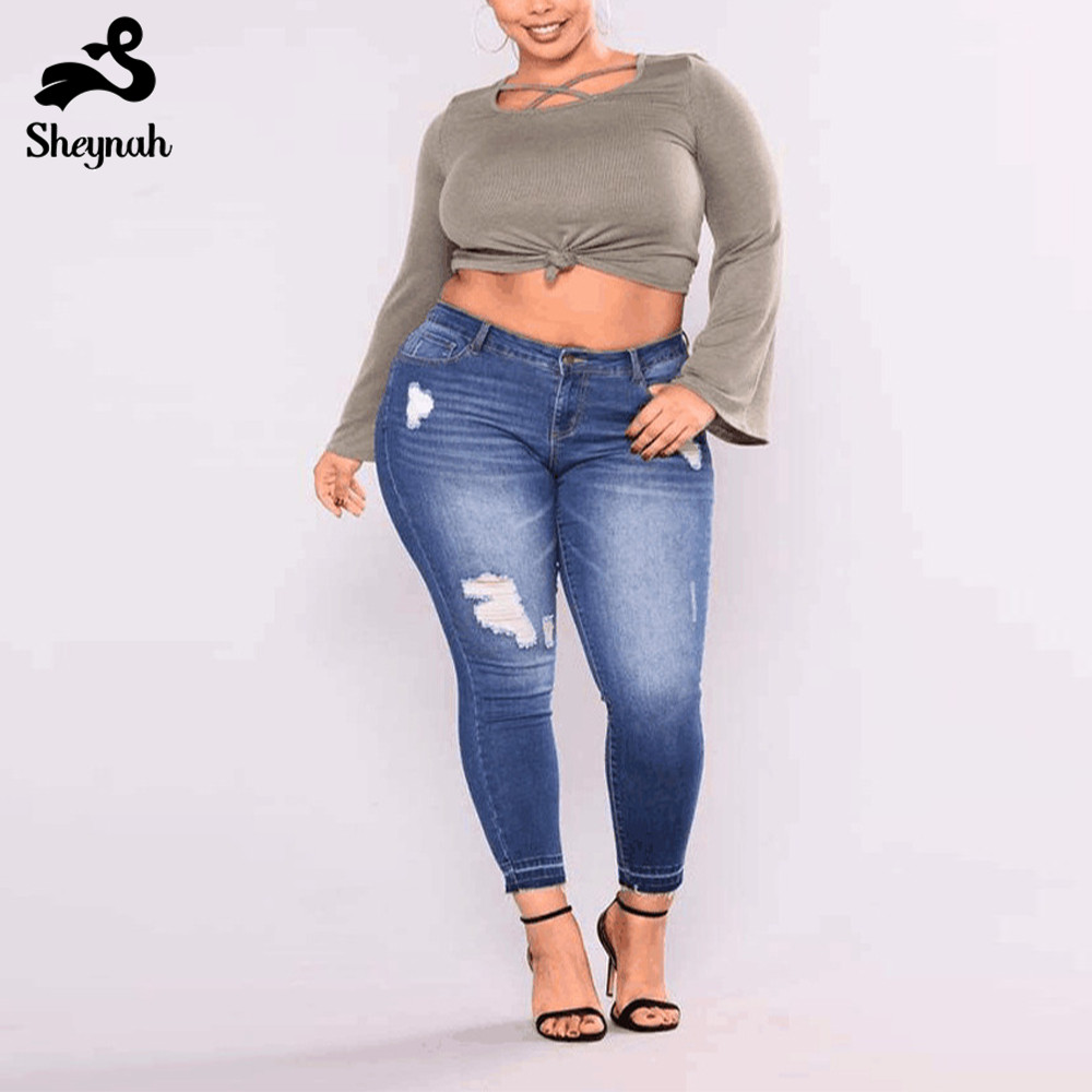 Fiminino Big Size Denim Jeans Skinny Pencil Pants Midi Waist Vintage Slim Bodycon Bottoms 7xl Stretched Casual Hole Ripped Jeans