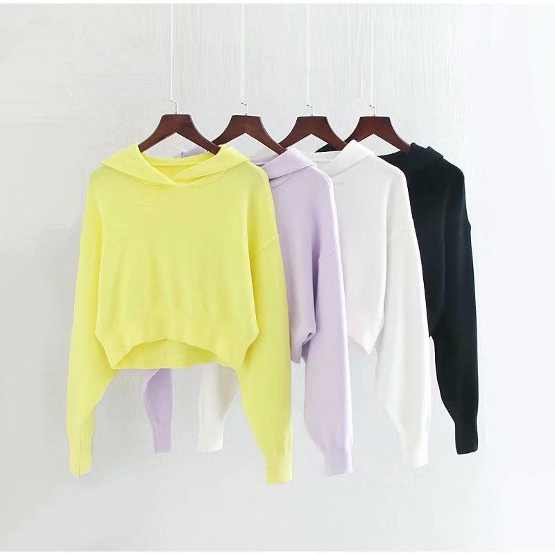 Autumn Casual Solid Short Sweatshirt Pullover Women Long Sleeve Hooded Hoody Ladies 2019 Fall Kawaii Women's Hoodies Pullovers