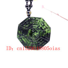 Natural Black Green Jade Obsidian Tai Chi Gossip Pendant Beads Necklace Fine Jewelry Carved Amulet Fashion Charm Gifts for Women(China)