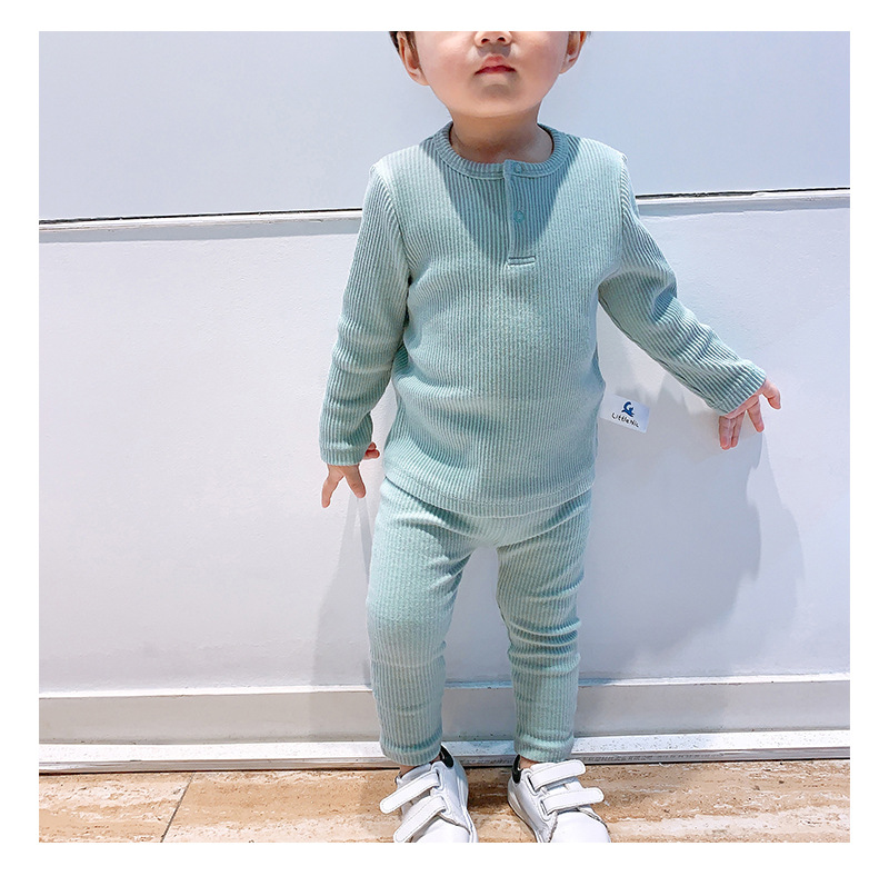 Soft Ribbed Toddler Girl Pajamas For Baby Boys Clothes Set Autumn Winter Children Outfits Long Sleeve Tops Pants 2 Pcs Kids Suit (20)