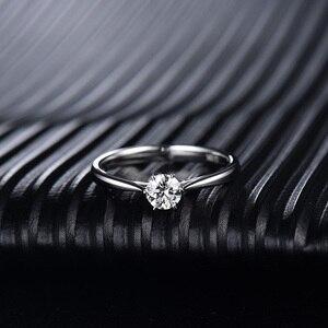 Image 2 - LOVERJEWELRY 14Kt مويسانيتي خواتم النساء الجولة قص الطبيعية مويسانيتي مختبر نمت الماس في الذهب الأبيض للإناث المشاركة هدية