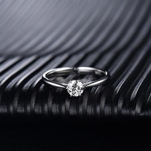 Image 2 - Loverjewelry 14Ktモアッサナイトリング女性ラウンドカット天然リアルダイヤモンドウェディング用ホワイトゴールド女性婚約ギフト