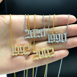 Crystal Letter Pendant Necklace For Women Jewelry Number Initial Choker 1996 1997 1998 Year Necklaces Birthday Gift Collares BFF
