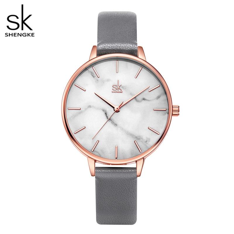 Часы Shengke с изумрудным циферблатом женские, часы из нержавеющей стали цвета розового золота с мраморной поверхностью, брендовые наручные, д...