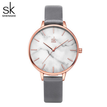Shengke Emerald Dial Women Watch Rosegold Stainless Steel Band Marble Surface Reloj Mujer New Original Brand forGirl - discount item  90% OFF Women's Watches