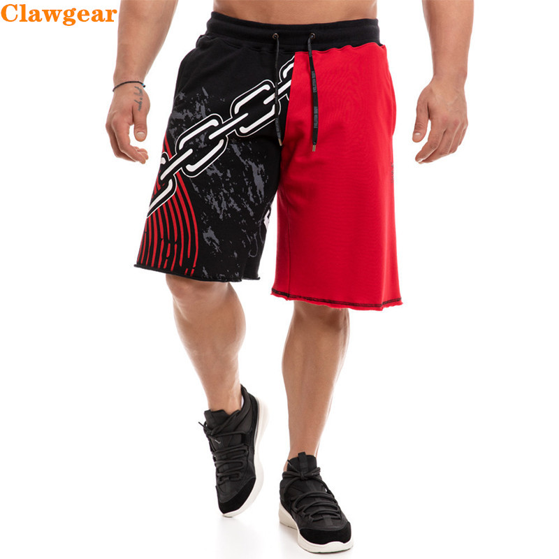 2019 New Clawgear Summer cotton Mens casual Loose   shorts   Patchwork printing fitness   shorts   Plus size Hip Hop Men gyms   short   pant