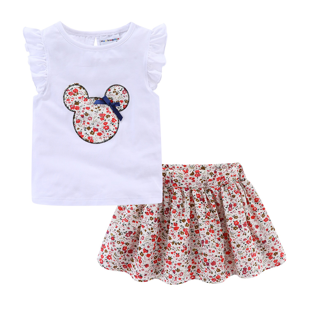 Mudkingdom Cute Girls Clothes Sets Floral 2Pcs Cartoon Kids Ruffle Sleeve Tank Top and Skirt Outfits Adorable 2