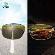 YSO 나이트 비전 안경 남성 Photochromic 편광 된 나이트 비전 고글 자동차 운전 2020 브랜드 남자 안티 글레어 안경 2458