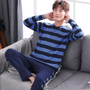 Image 3 - Yidanna cotton pijama set for men Tshirt O neck plus size underwear long sleeved pajama sleepwear clothing winter nightwear male