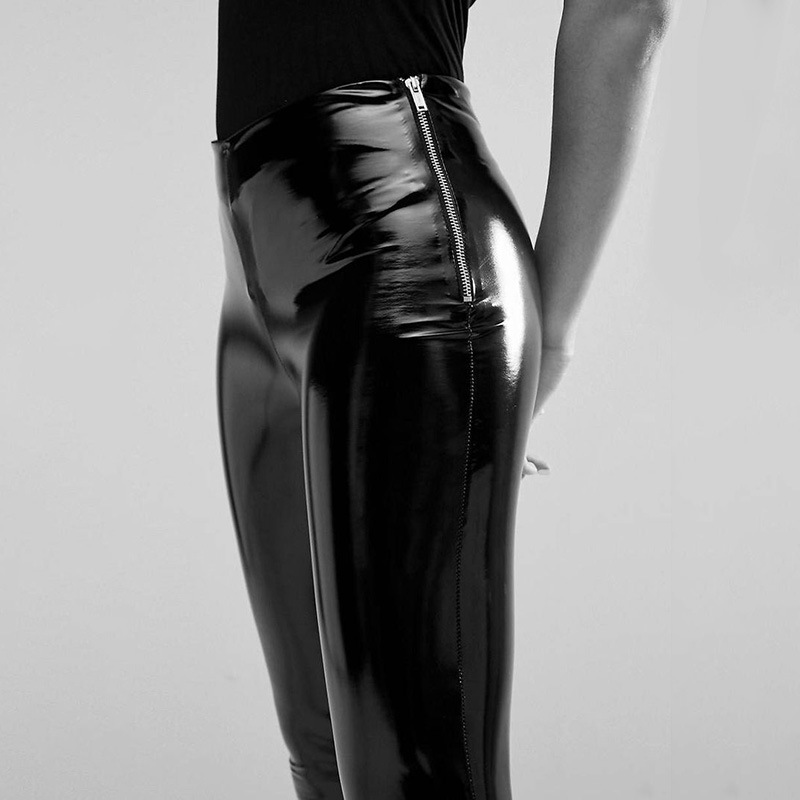 2020 Side Zipper Temperament Bright PU Leather Pants Female Thin And Sexy Hip Elastic
