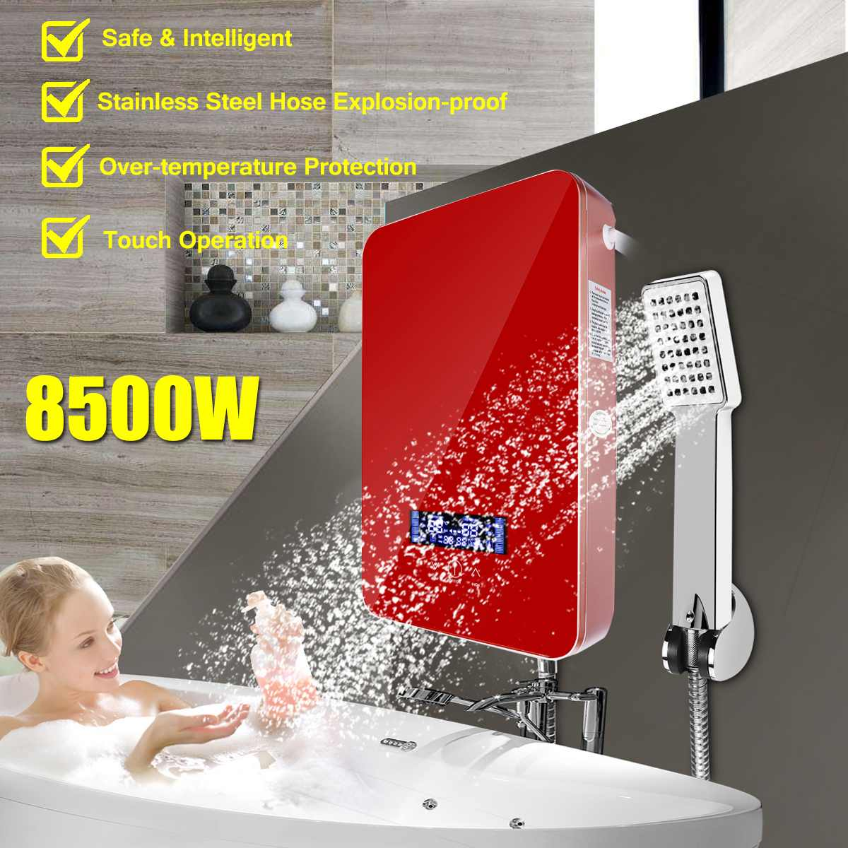 8500W 220V Tankless Instant Electric Hot Water Heater Boiler Bathroom Shower Set Safe And Intelligent Hung Up Touch Operation