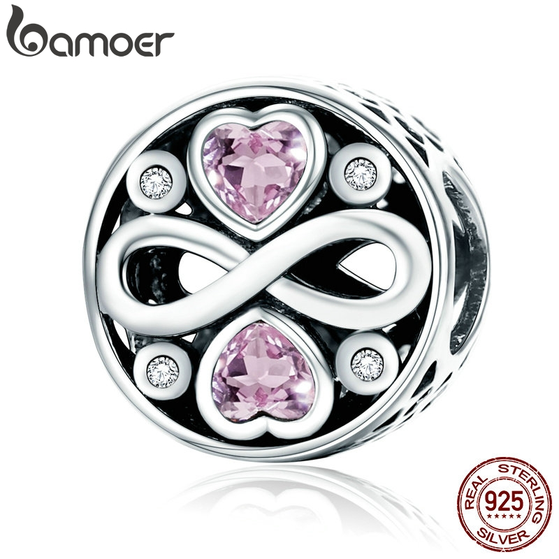 BAMOER Authentic 100% 925 Sterling Silver Infinity Love Pink Heart Crystal Beads Fit Charm Bracelets Fine Jewelry S925 SCC240(China)