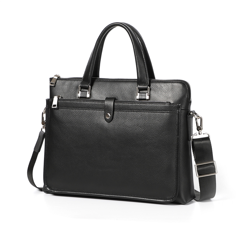 Nesitu High Quality New A4 Black 100% Genuine Leather Office Men Briefcase Business Messenger Bag Men's Portfolio M233705