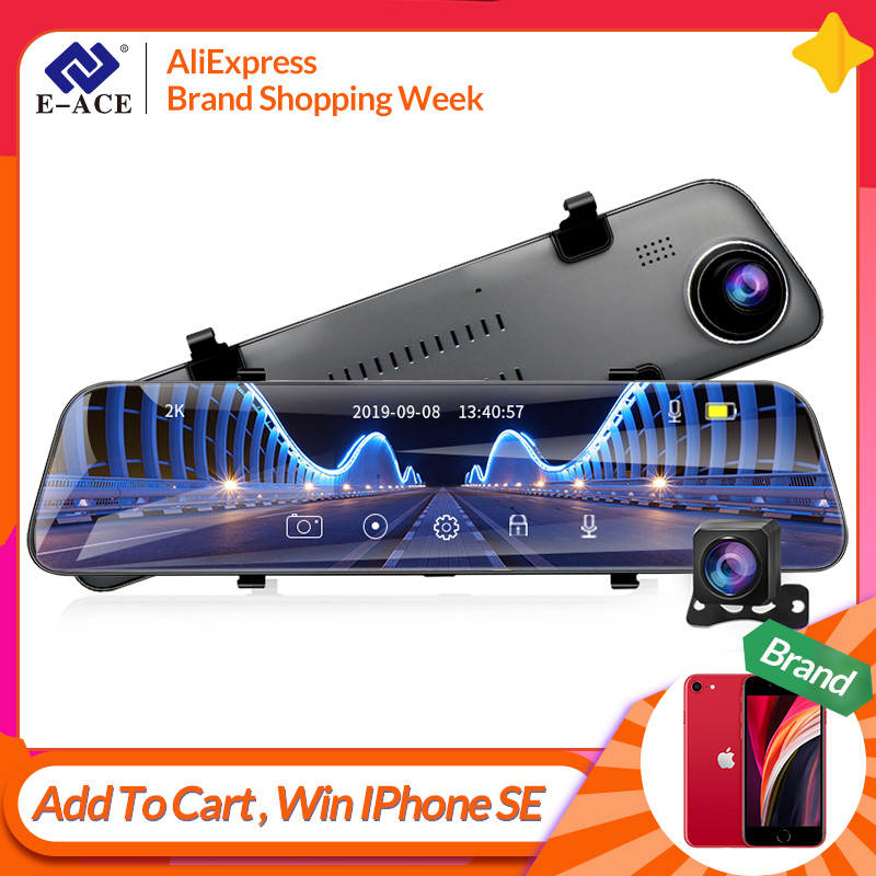 E-ACE A38 12 Cal dotykowy wideorejestrator samochodowy strumień mediów kamera samochodowa lustro 1440P wideorejestrator podwójny Len wsparcie 1080P kamera tylna GPS