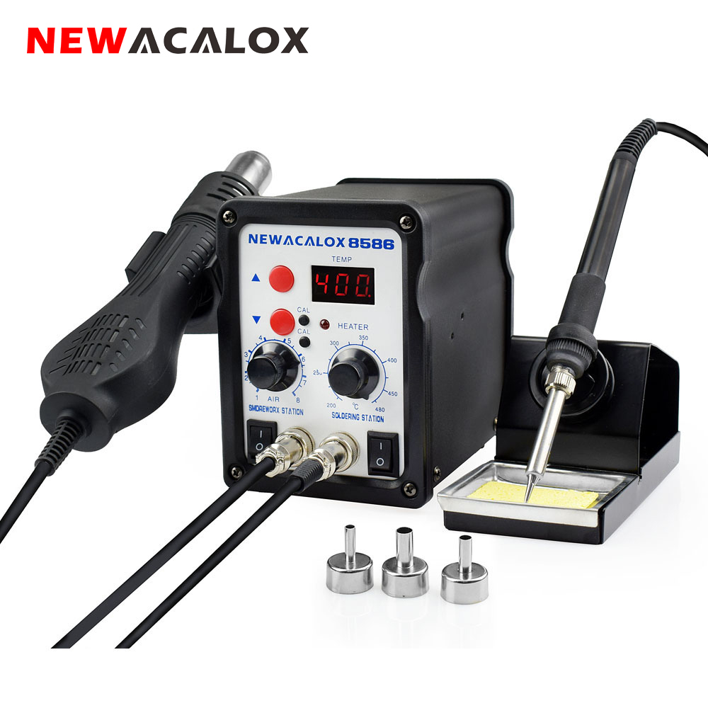 NEWACALOX EU/US 220V/110V 700W  Rework Soldering Station Thermoregulator Soldering Iron Hot Air Desoldering Gun Welding Tool Kit