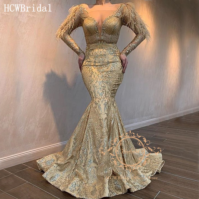 Sparkly Mermaid Long Sleeves Evening Dress V Neck Floor Length Feathers Special Occasion Dresses 2020 Robe De Soiree Customize