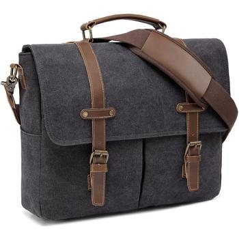 Messenger Bag Men Retro Water-Resistant Hight Quality Canvas Shoulder 14 inch Laptop Business With Detachable S