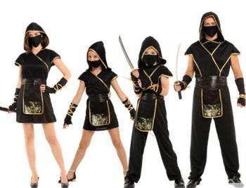 Halloween Costumes Boys Ninja Costume Girls Warrior Cosplay Carnival Party Fancy Dress Kids Children Adult Parent-child clothing tanie i dobre opinie AMBESTPARTY Suknie Film i TELEWIZJA Unisex Dzieci Zestawy Free Poliester Kostiumy