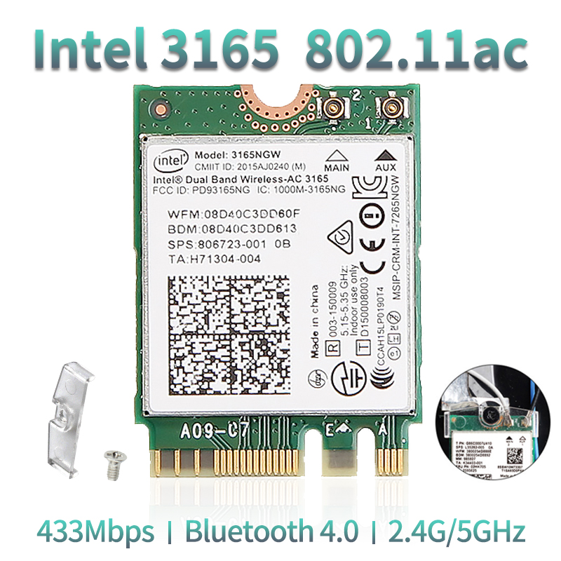Dual Band Wireless-AC 3165NGW For Intel 3165 M.2 NGFF 802.11ac WiFi WLAN Network Card 433Mbps 2.4G/5Ghz Bluetooth 4.0 Windows