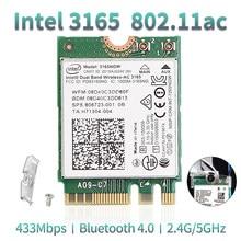 Dual Band Wireless-AC 3165NGW Für Intel 3165 M.2 NGFF 802,11 ac WiFi WLAN Netzwerk Karte 433Mbps 2,4G/5Ghz Bluetooth 4,0 Windows