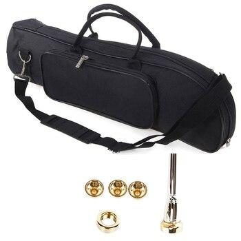 TOP!-2 Set Musical accessories: 1 Set 2C 3C 2B 3B Mouthpiece & 1 Set Trumpet Gig Bag with Shoulder Strap Instrument