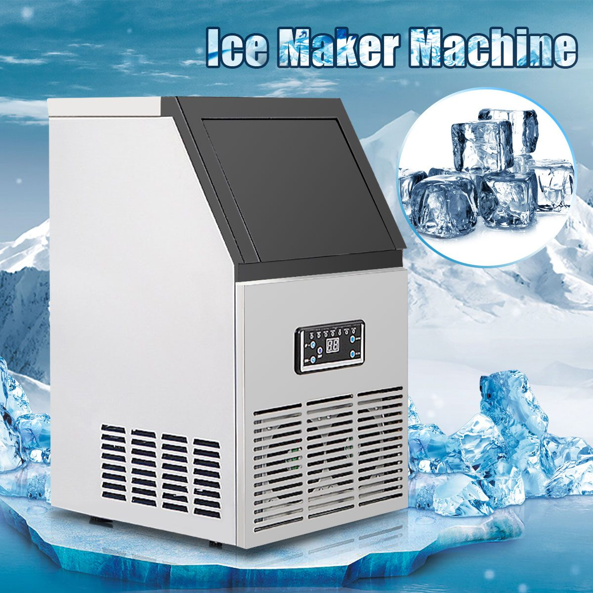 110V/24hrs Ice Making Machine Commercial Cube Ice Maker Automatic Household Ice Cube Making Machine For Bar Coffee Milk Tea Room