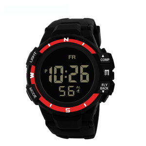 Image 2 - Mens Black Face Black Screen Multi function Student Sports Electronic Watch Led Waterproof Luminous Simple Trend Watch